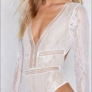 White Lace Bodysuit Nasty Gal